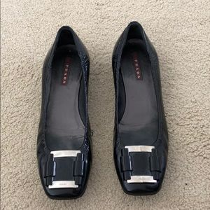 Prada buckle patent leather flats